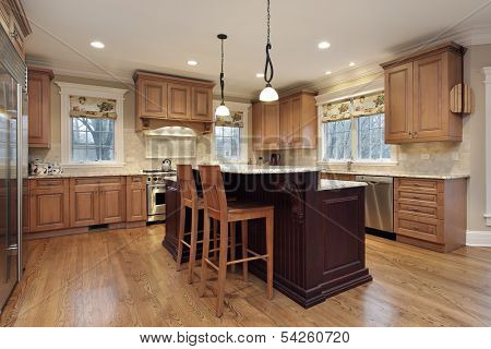 Modern kitchen with double decker island