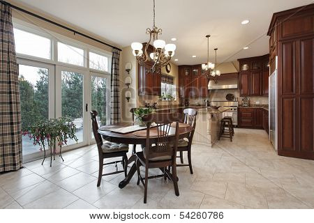 Kitchen with center island and eating area