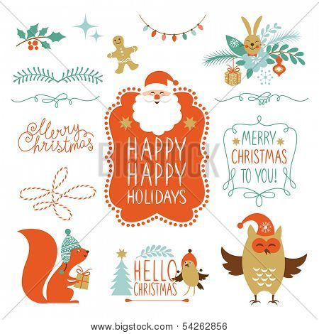 Set of Lettering and Christmas graphic elements