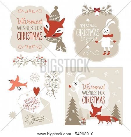 Set of Christmas graphic elements, vector illustration for greeting cards, scrapbooking elements