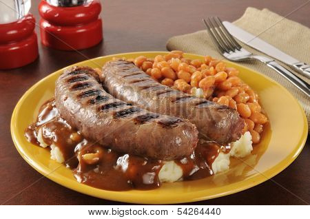 Bangers And Mash With Baked Beans