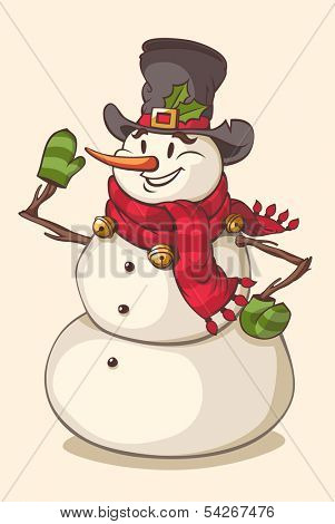 Christmas character snowman. Vector illustration.