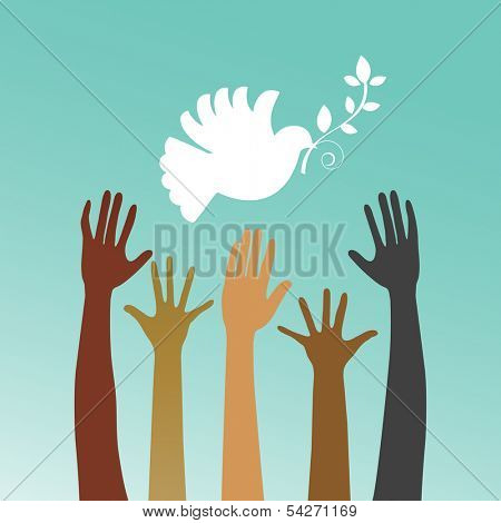 Dove of peace with multicultural hands