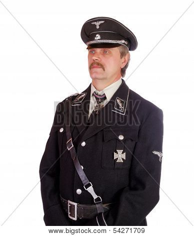 Man In The Form  Standartenfuehrer Ss On A White Background