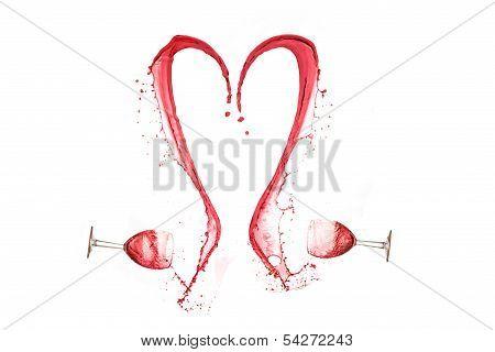 Heart made of wine splash