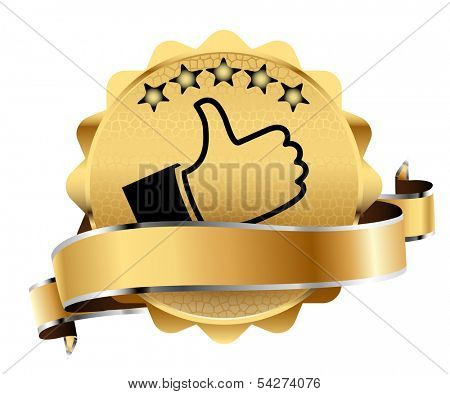 Golden Mark of Best Quality. Illustration. Vector.