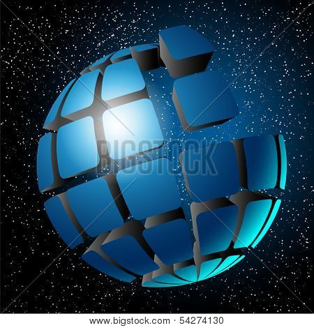 Illustration ball in space. Design elements. Vector.
