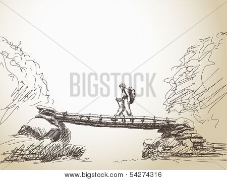 Sketch of bridge crossing river with trekking woman Vector