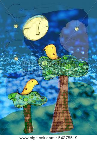 Night Birds Illustration