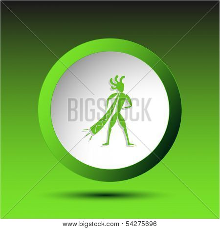 Ethnic little man with trumpet. Plastic button. Vector illustration.