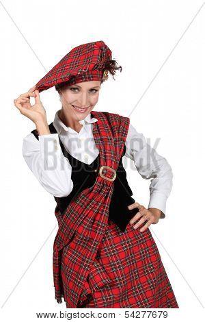 Woman wearing a kilt