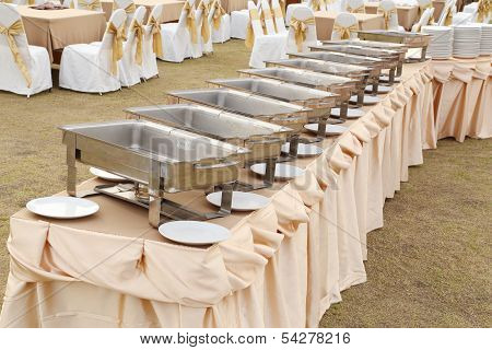 Empty Buffet Trays Ready For Service