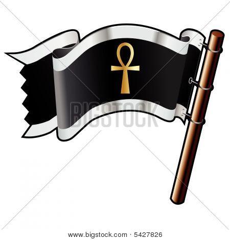 Ankh Religious Icon On Pirate Flag