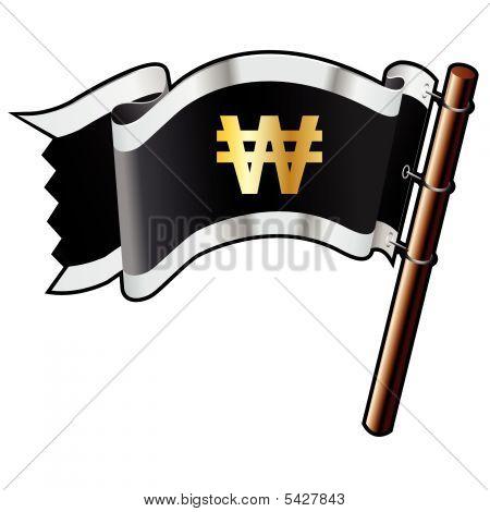 Korean Won Icon On Pirate Flag
