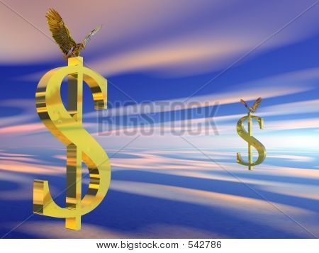 American Bald Eagle On Dollar Sign.