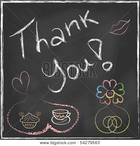 Thank You Lettering Message Handwriting On Blackboard With Set Of Abstract Flower And Coffee Cup Wit