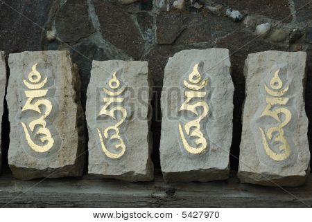 Four Stones With Sacred Tibetan Syllable