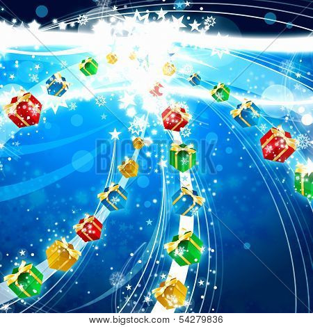 Gifts And Lights Xmas Abstract Background