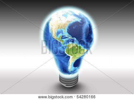 America Earth Light Bulb