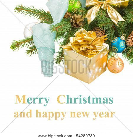 christmas tree and  decorations with gift box