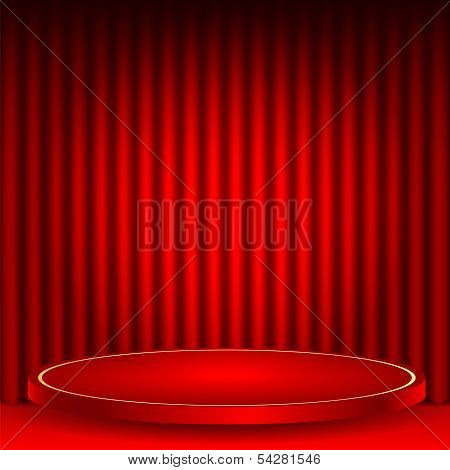 Theatrical Background.scene And Red Curtains.red Podium On A Background Of Red Drape Curtains.interi