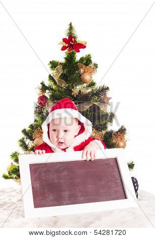 Santa and chalkboard