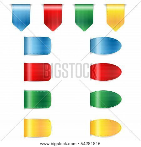 Set Of Colorful Bookmarks Isolated On White Background.banners For The Website.collection Of Ribbons
