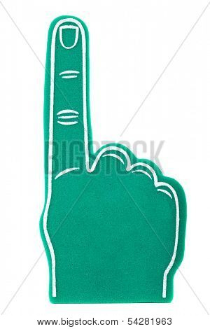 a green foam fan finger on a white background