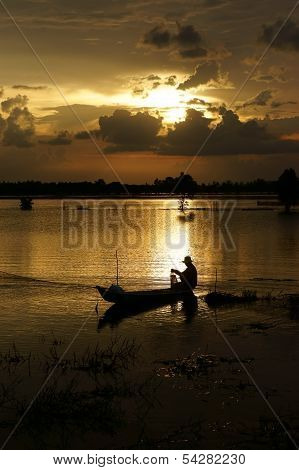 Fisherman Do Fishing On River