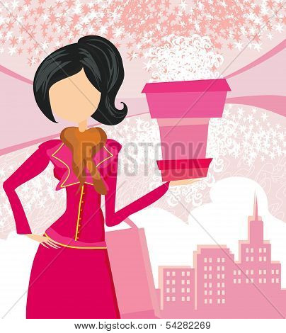 Abstract Fashion Girl Shopping