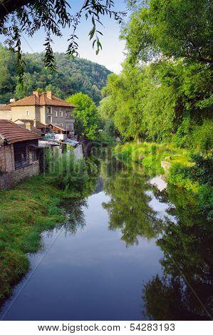 houses on Tryavna River, Bulgaria
