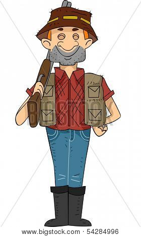 Illustration of a Male Hunter Carrying a Rifle Flashing a Big Grin