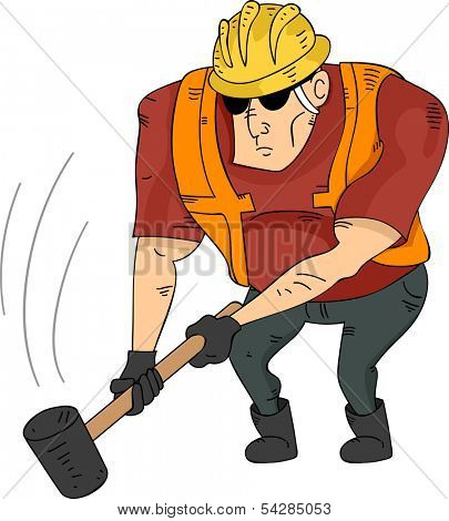 Illustration of a Muscular Construction Worker Holding a Sledgehammer