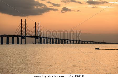 Oresund Bridge at dusk