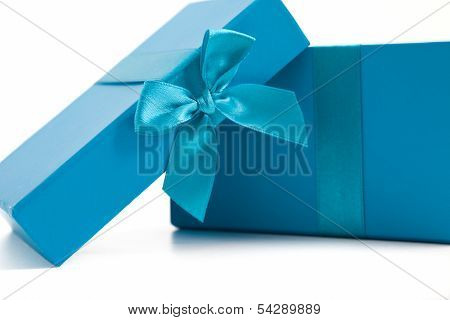 Opened Turquoise Blue Gift Box With A Bow