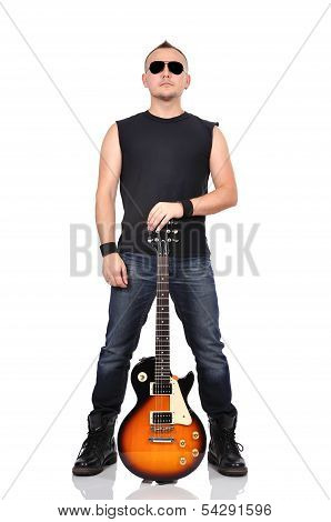 Rocker Holding Guitar