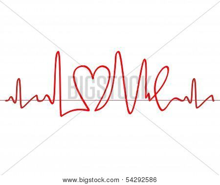"Word ""love"" Shape Electrocardiogram Vector On White Background"