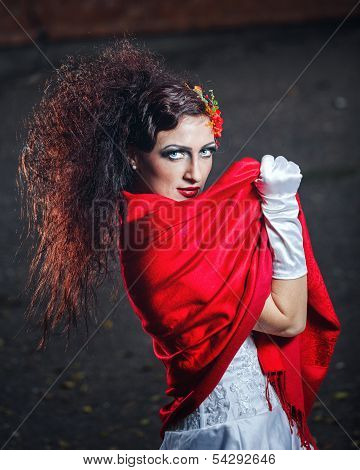 Bride With Red Shawl