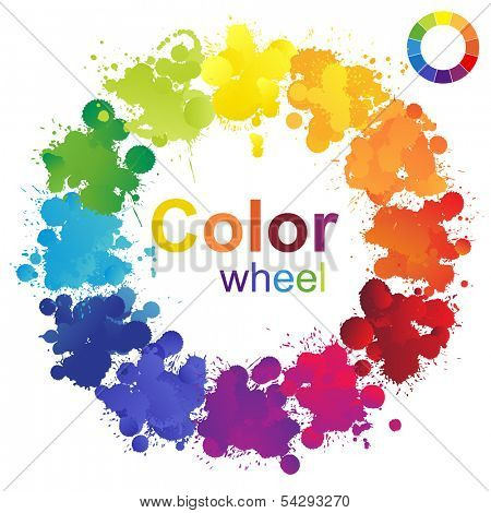 Creative color wheel made from paint splashes