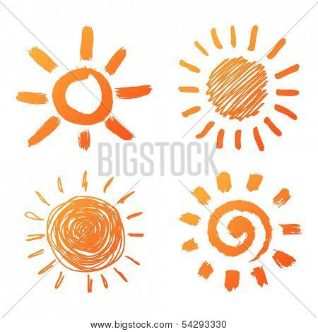 Hand drawn sun icons