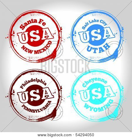 stamp of USA countries