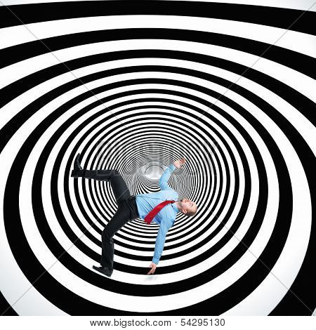 falling man and 3d abstract tunnel