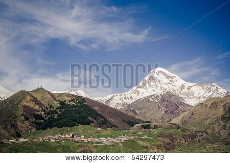 Kazbek mountain and Gergeti Trinity Church