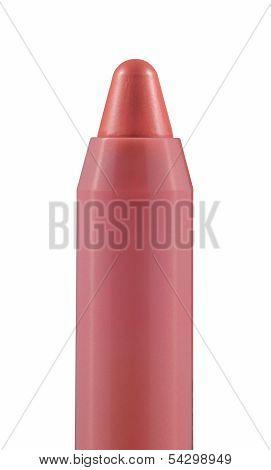 Pink Caramel Chubby Stick On White Background.