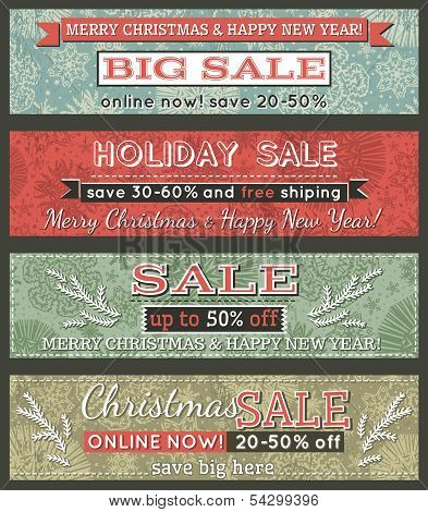 Vintage Christmas Banners With Sale Offer, Vector
