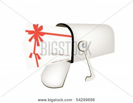 Letters And Red Mailbox Isolated On White Background