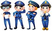 image of headgear  - Illustration of the four policemen on a white background - JPG