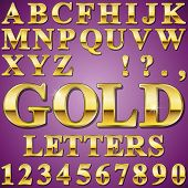 stock photo of chisel  - An Alphabet Sit of Shiny Gold Metal Letters and Numbers - JPG
