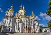 stock photo of kiev  - Cathedral with golden domes in the Kiev Pechersk Lavra Ukraine - JPG