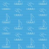 stock photo of brigantine  - Blue seamless pattern with sailboat and dolphins  - JPG